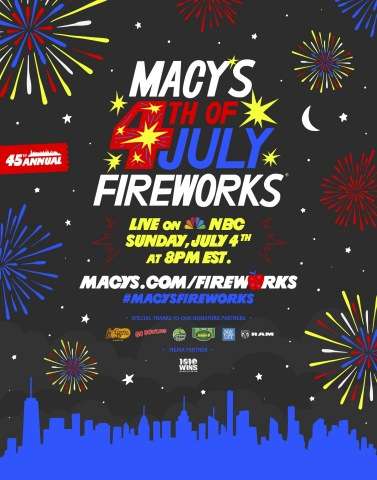 Macy's 4th of July Fireworks® returns live from New York City. Watch the star studded two-hour entertainment special on NBC, Sunday, July 4th at 8 PM EST/PST. (Photo: Business Wire)