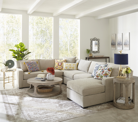 This spring, wear what you love anywhere with the best brands across fashion, home, beauty and accessories at Macy's; Radley 5-Pc. Sectional, $2,998.00 (Photo: Business Wire)