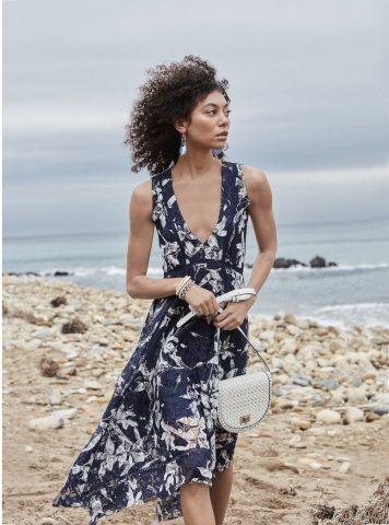 Macy's Spring 2019 remarkable fashion, beauty and home assortment is inspired by coastal culture and individuality. Taylor dress, $119; Steve Madden handbag, $78; INC International Concepts jewelry, $29.50-$79.50. (Photo: Business Wire)